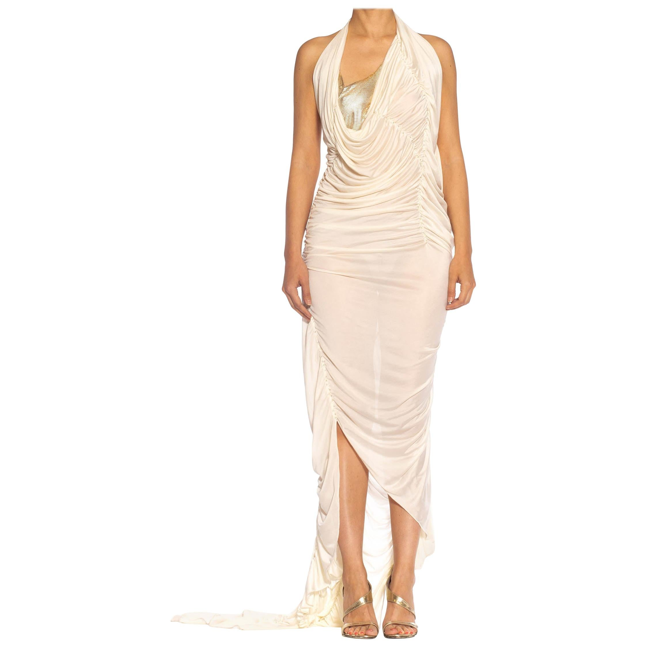 Ivory Rayon Blend Jersey Asymmetrically Draped Sexy Gown With Metal Mesh & Swar