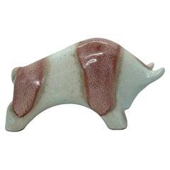 Ivory & Red Glazed Bull Statue Fat Lava Ceramic by Otto Keramik, Germany, 1970s