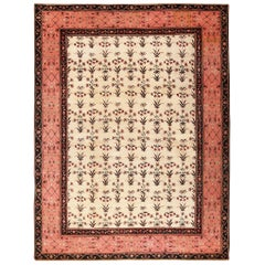 Ivory Room Size Antique Indian Agra Carpet. Size: 11 ft x 14 ft 5 in