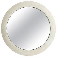 Ivory Shagreen Round Mirror by Elan Atelier