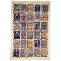 Ivory Special Kazak Garden Design Hand Knotted Oriental Rug