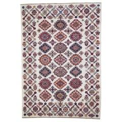 Ivory Super Kazak Pure Wool Hand Knotted Oriental Rug