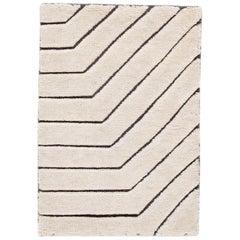 Ivory Textured Wool Custom Rug