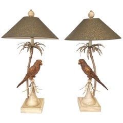 Ivory Tole Palm Tree Lamps with Gilt Parrots Hollywood Regency