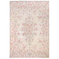 Ivory Touch of Pink Vintage and Worn Down Persian Kerman Pure Wool Fine Oriental