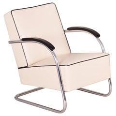 Ivory Tubular Steel Cantilever Chrome Armchair, High Quality Leather, 1930s