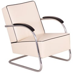 Ivory Tubular Steel Cantilever Chrome Armchairs, High Quality Leather, 1930s
