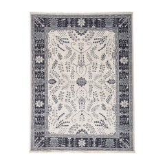 Ivory Turkish Knot Oushak Hand Knotted Pure Wool Oriental Rug