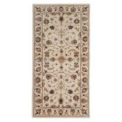 Ivory Vintage Cream Ziegler Inspired Rug, Hand Knotted Indian Carpet