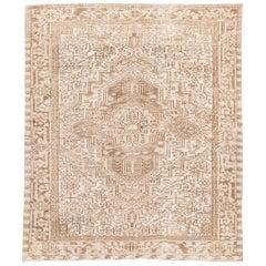 Ivory Vintage Heriz Room Size Wool Rug