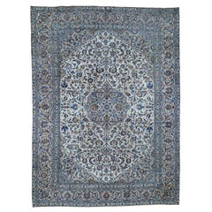 Ivory Vintage Persian Kashan Evenly Worn Hand Knotted Rug