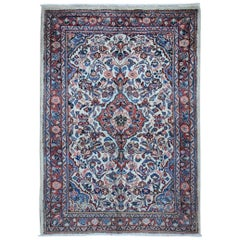 Ivory Vintage Persian Sarouk Clean hand Knotted Oriental Rug