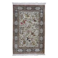 Vintage Persian Silk Qum 500 KPSI Hunting Design Hand Knotted Oriental Rug