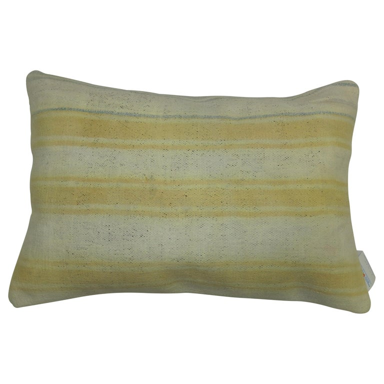 Ivory Yellow Indian Dhurrie Pillow For Sale