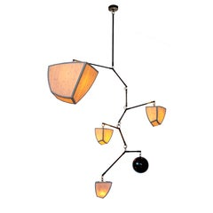 """Custom Handmade Bamboo and Brass Mobile Chandelier """"Ivy 5"""" by Andrea Claire"""