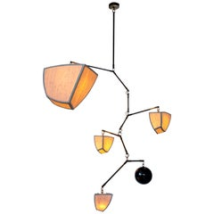 Ivy 5 Bamboo and Brass Mobile Chandelier Handmade by Andrea Claire Studio