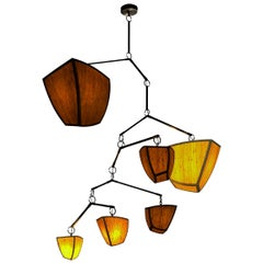 Ivy 6 Bamboo and Brass Mobile Chandelier Handmade by Andrea Claire Studio