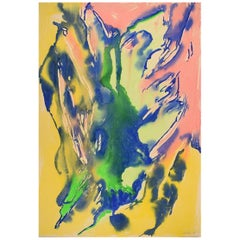 Ivy Lysdal, Gouache on Cardboard, Abstract Modernist Painting, 1991