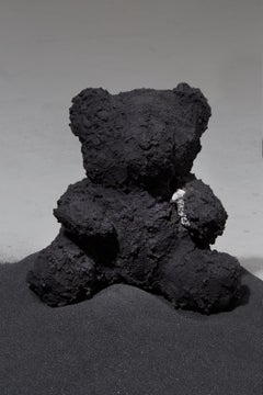 Concrete sculpture of Teddy Bear: 'Black Bear with Gem'