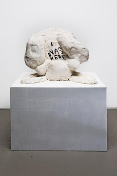 Minimal Sculpture of Rabbit with message: 'I Was Here""