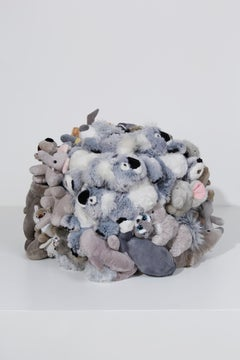 "Sculpture of stuffed animal cube: ""Cube'"
