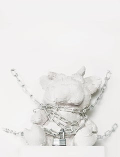 Sculpture of animal in chains: 'Animal Chained'