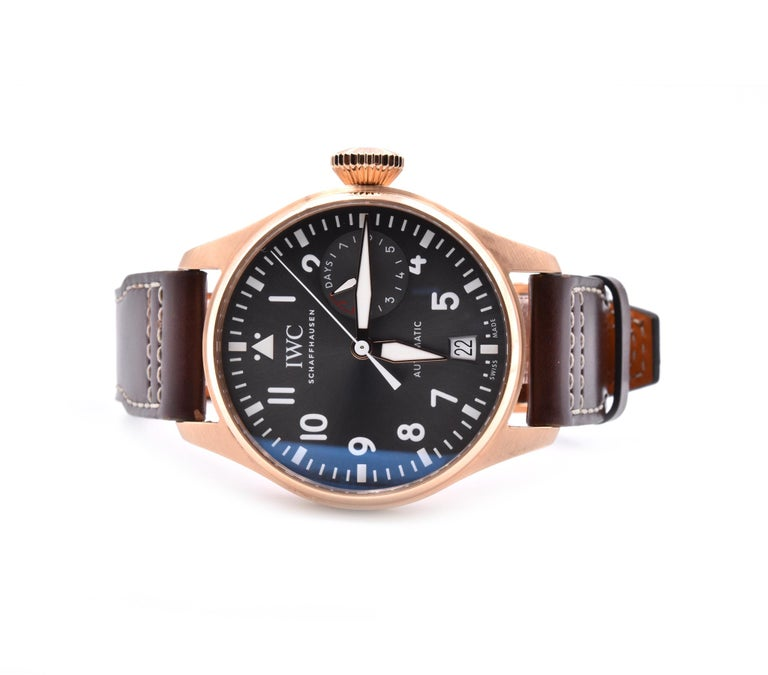 Designer: IWC Movement: automatic Function: Minutes, Seconds, Date, Power Reserve Case: 46mm 18K rose gold case, sapphire crystal, screw down crown Band: brown calfskin leather strap  Dial: grey arabic dial with luminescence Reference #: