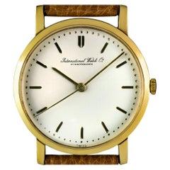 IWC 18k Yellow Gold Cream Dial Manual Wind Vintage Men's Wristwatch