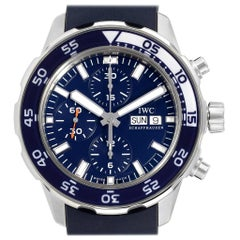 IWC Aquatimer Automatic Chrono Day Date Blue Strap Men's Watch IW376711