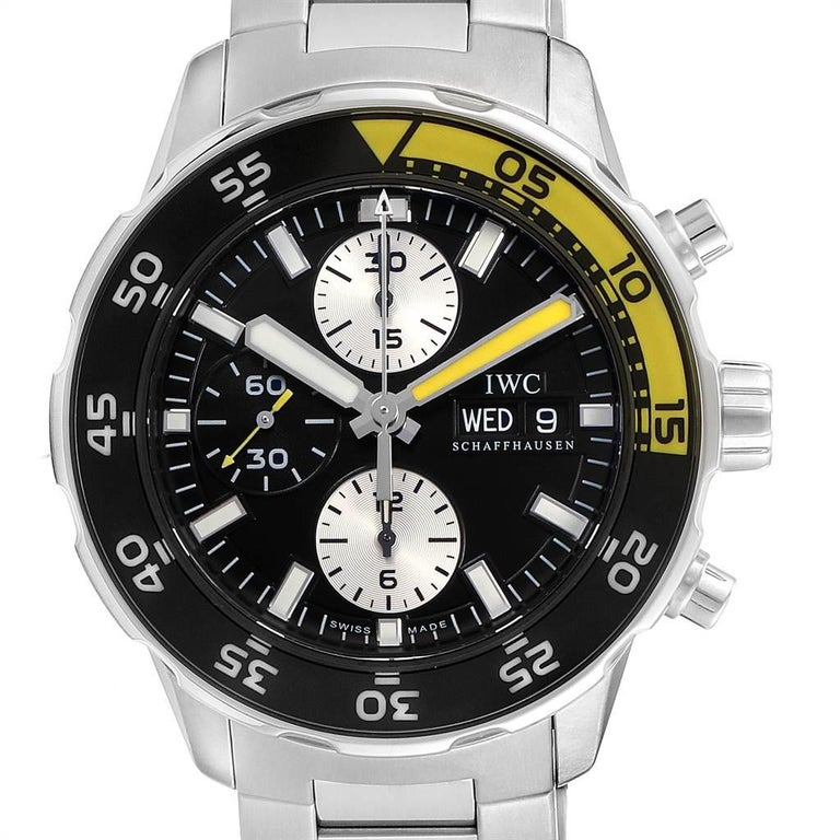 IWC Aquatimer Chronograph Black Yellow Day Date Mens Watch IW376701. Automatic self-winding movement. Stainless steel case 44.0 mm in diameter. Black unidirectional rotating bezel with luminescent numbers and luminescent yellow 15 minute zone.