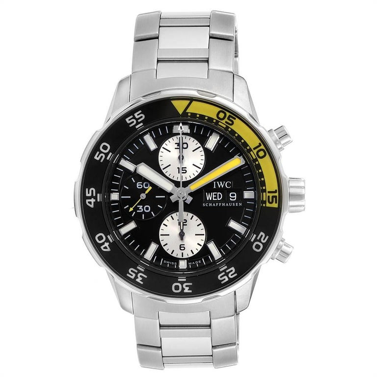 IWC Aquatimer Chronograph Black Yellow Day Date Men's Watch IW376701 In Excellent Condition For Sale In Atlanta, GA