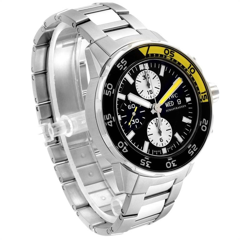IWC Aquatimer Chronograph Black Yellow Day Date Men's Watch IW376701 For Sale 1