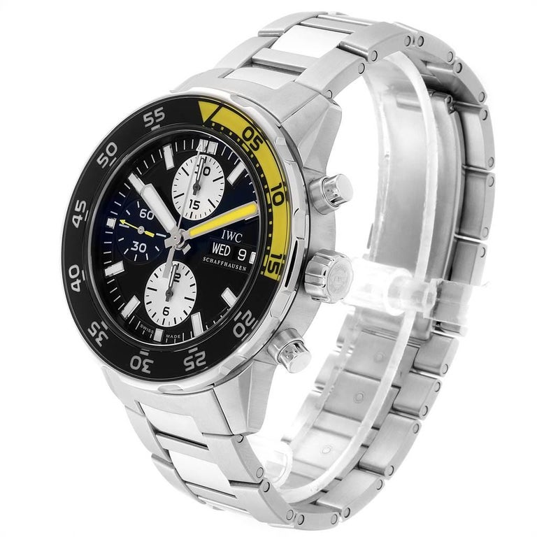 IWC Aquatimer Chronograph Black Yellow Day Date Men's Watch IW376701 For Sale 2