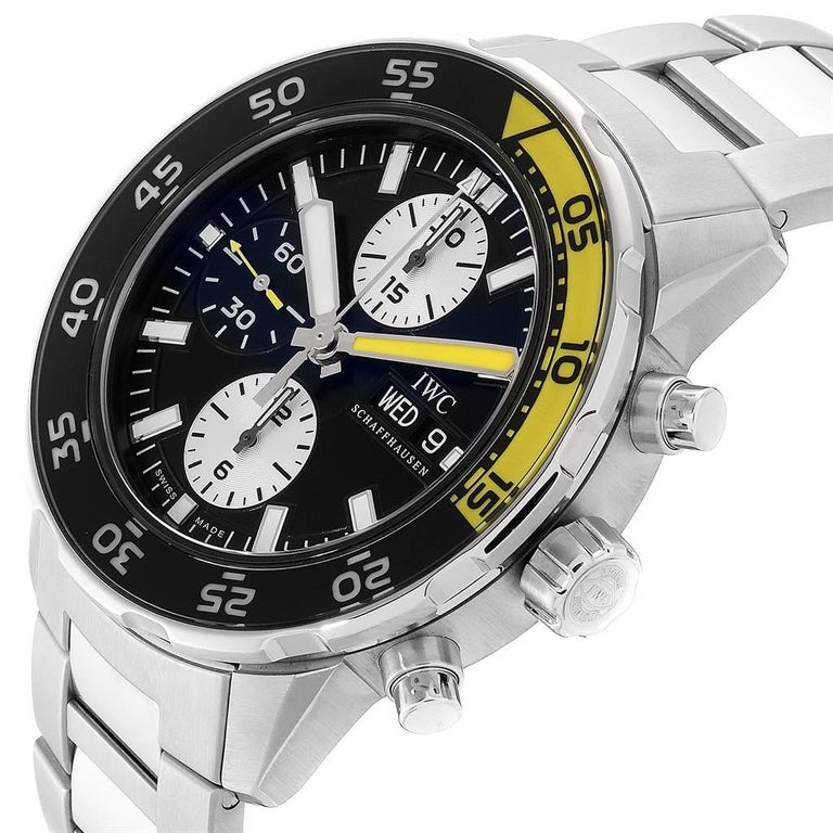 IWC Aquatimer Chronograph Black Yellow Day Date Men's Watch IW376701 For Sale 3