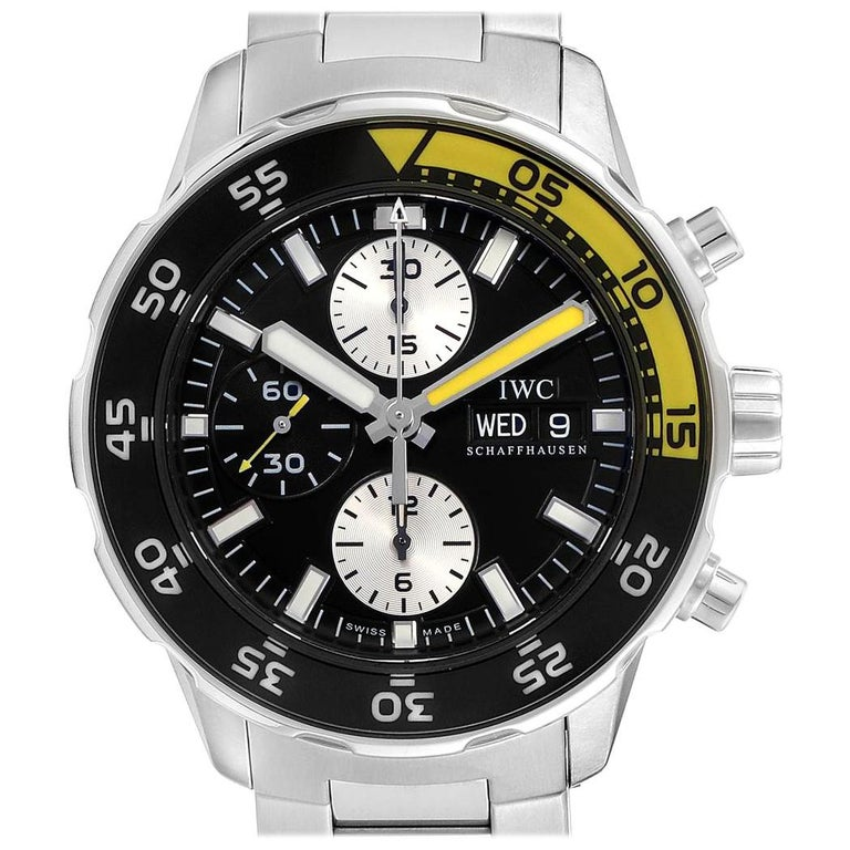 IWC Aquatimer Chronograph Black Yellow Day Date Men's Watch IW376701 For Sale