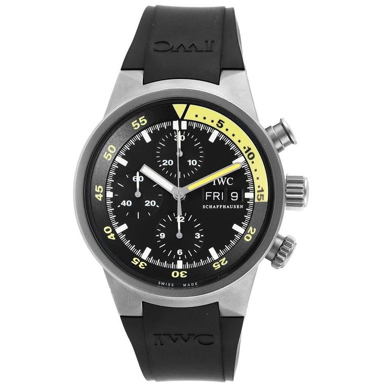 IWC Aquatimer GST Automatic Chronograph Day Date Mens Watch IW371918. Automatic self-winding movement. Titanium case 42.0 mm in diameter. Titanium bezel. Scratch resistant sapphire crystal. Black dial with index hour markers. Luminescent hands.