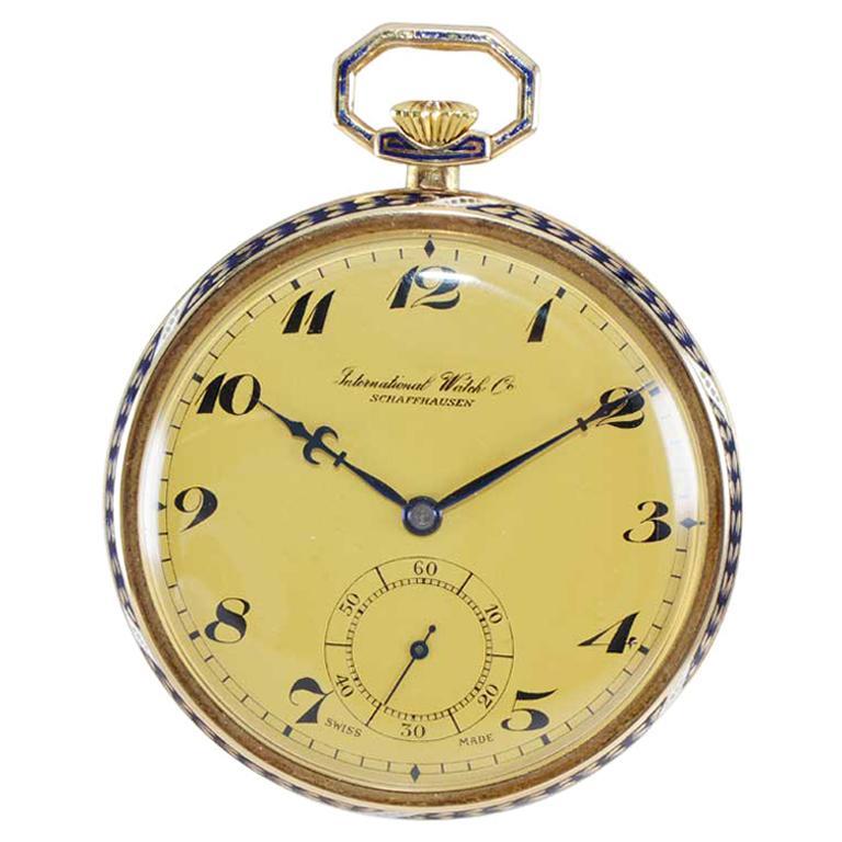 I.W.C. International Watch Company Art Deco Open Faced Pocket Watch, circa 1930s