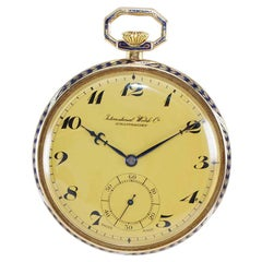 I.W.C. International Watch Company Art Deco Open Faced Pocket Watch, circa 1930s