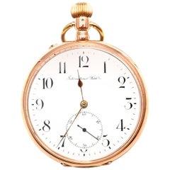 IWC International Watch Company Large Rose Gold Pocket Watch