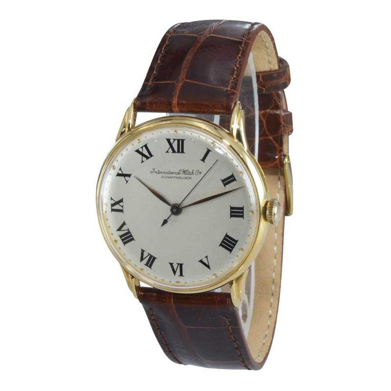 Art Deco IWC International Watch Company Yellow Gold Manual Watch, circa 1950s For Sale
