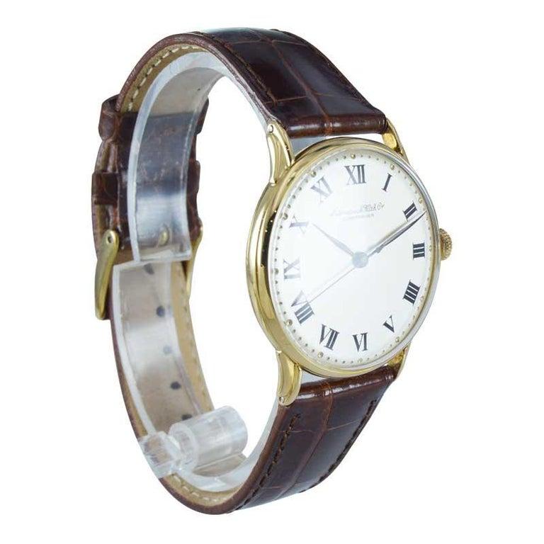 Women's or Men's IWC International Watch Company Yellow Gold Manual Watch, circa 1950s For Sale