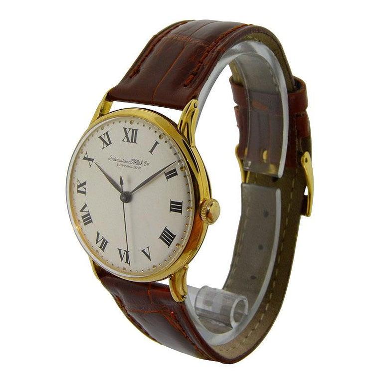IWC International Watch Company Yellow Gold Manual Watch, circa 1950s For Sale 1