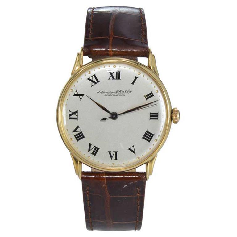 IWC International Watch Company Yellow Gold Manual Watch, circa 1950s For Sale