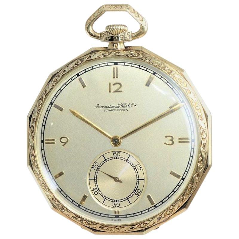 I.W.C International Watch Company Yellow Gold Pocket Watch, 1930s