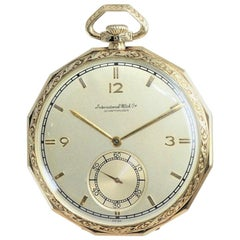 I.W.C International Watch Company Yellow Gold Pocket Watch, 1930s