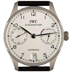 IWC Ltd. Edition Portuguese 7 Day Power Reserve Platinum Silver Dial IW500104