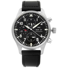 IWC Pilot Chronograph Day Date Steel Black Dial Automatic Men's Watch IW377709