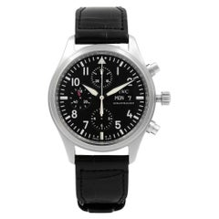 IWC Pilot Chronograph Steel Black Dial Automatic Men's Watch IW371701