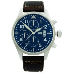 IWC Pilot Chronograph Steel Midnight Blue Arabic Dial Men's Watch IW377714