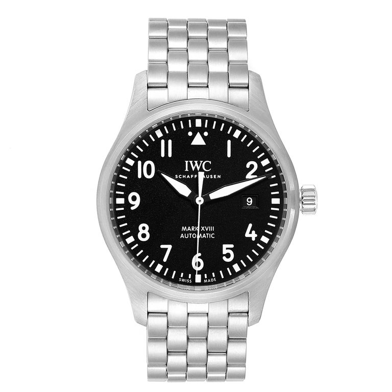 IWC Pilot Mark XVIII Black Dial Steel Mens Watch IW327011 Card. Automatic self-winding movement with 42 hour power reserve. Stainless steel case 40 mm in diameter. Stainless steel bezel. Scratch resistant sapphire crystal. Black dial with luminous